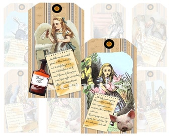 Alice In Wonderland Gift/Hang Tags Digital Collage Sheet