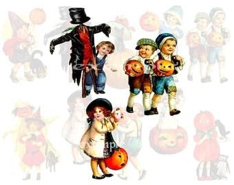 Halloween Vintage Kids Digital Collage Sheet 2