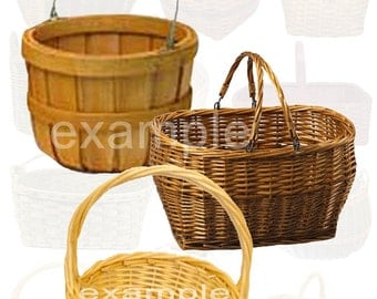 Wicker Baskets Digital Collage Sheet - ATC, ACEO, Scrapbook, Card, Tag