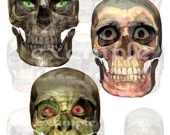 Halloween...Altered Skulls Digital Collage Sheet - Altered Art, Scrapbook, Cards, Tags