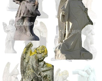Stone Angels...Cemetery Angels...Digital Collage Sheet