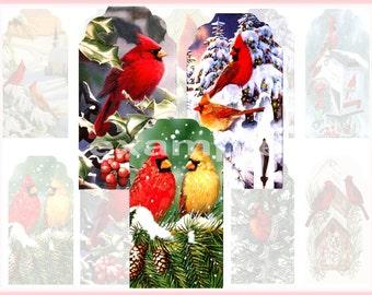 Beautiful Red Cardinal Bird Tags Digital Collage Sheet