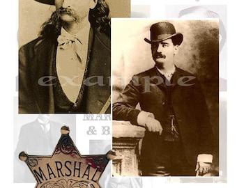 Old West Marshals and Badges Digital Collage Sheet