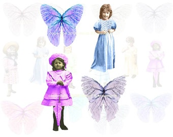 Little Girls And Butterfly Wings Digital Collage Sheet 1
