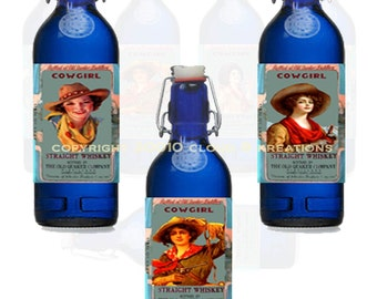 Cowgirl Labels On Cobalt Bottles...Digital Collage Sheet