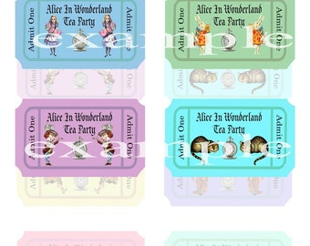Alice In Wonderland Tea Party Tickets Digital Collage Sheet - 8 Images