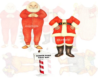 Vintage Santa Claus...St. Nick...Father Christmas...Paper Doll Digital Collage Sheet
