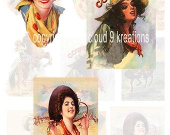 Vintage Cowgirls Digital Collage Sheet 4...Western