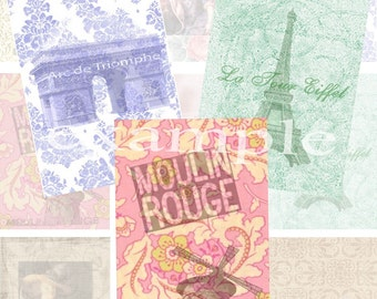 French backgrounds...ACEO/ATC...Digital Collage Sheet