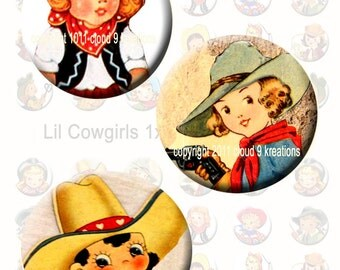Lil Cowgirls 1x1 Inch Circles...Bottlecaps...Digital Collage Sheet