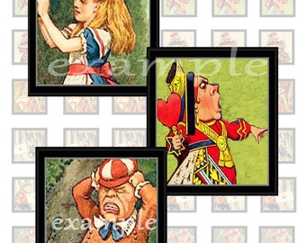 Framed Alice In Wonderland Character Inchies Digital Collage Sheet 2 Includes Alice, Queen of Hearts, Knave of Hearts And More