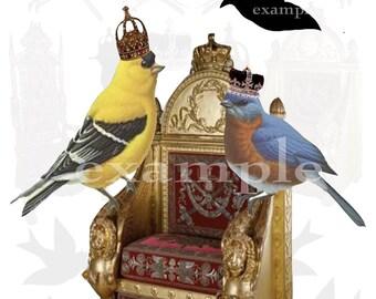 Royal Birds Digital Collage Sheet
