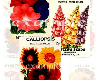Vintage Flower Seed Packets Digital Collage Sheet - ATC, Card, Scrapbook