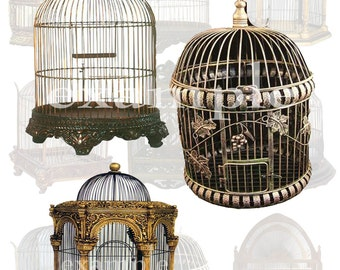 Antique Bird Cages Digital Collage Sheet