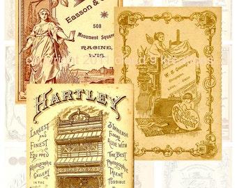 Vintage Cabinet Card Backs Digital Collage Sheet 1