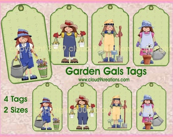 Garden Gals Gift/Hang Tags - No Words - Digital Collage Sheet