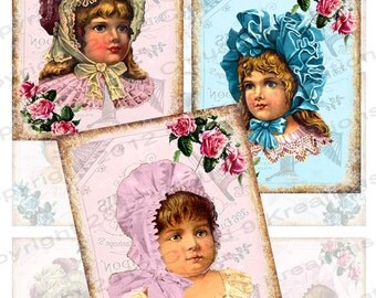Innocence...Victorian Girls...2.5x3.5 Inch Digital Collage Sheet