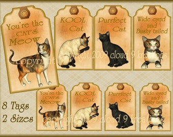 Cat Gift/Hang Tags Digital Collage Sheet