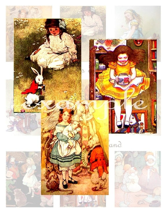The Many Faces of Alice...Alice In Wonderland...Digital Collage Sheet