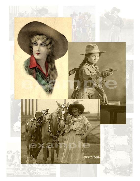 Vintage Cowgirls Digital Collage Sheet 2...Western
