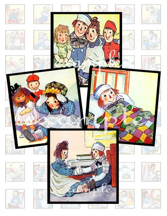 Johnny Gruelle Raggedy Ann And Andy Inchies...1X1...Digital Collage Sheet