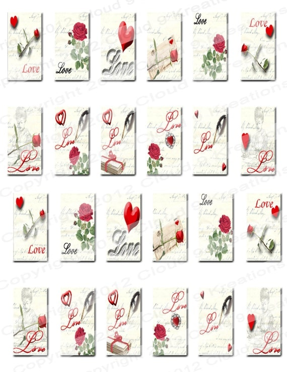 Love Letter 1x2 Inch Digital Collage Sheet From