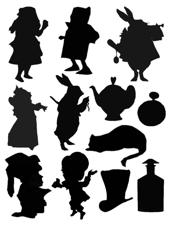 ALICE IN WONDERLAND SILHOUETTES DIGITAL COLLAGE by Cloud9Kreations