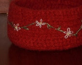cranberry felted bowl daisy chain embroidered beaded