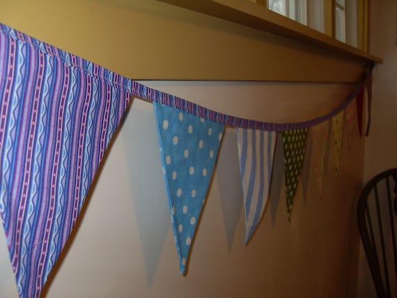 Ready to ship polka dot and stripe fabric flag banner teacher classroom office