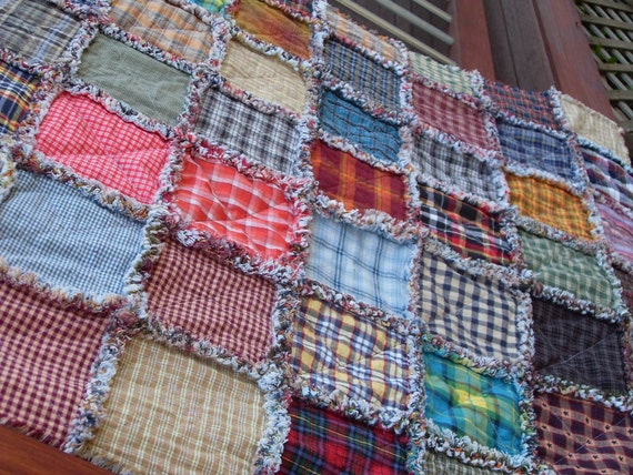 primitive homespun rag quilt