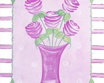 Set of 2 Shabby Lavender Purple Chic Flowers Girls KidsStretched Canvas Art 11x14