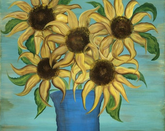 Shabby Chic French Cottage Country Sunflower Yellow and Blue Art Stretched Canvas Large 16x16