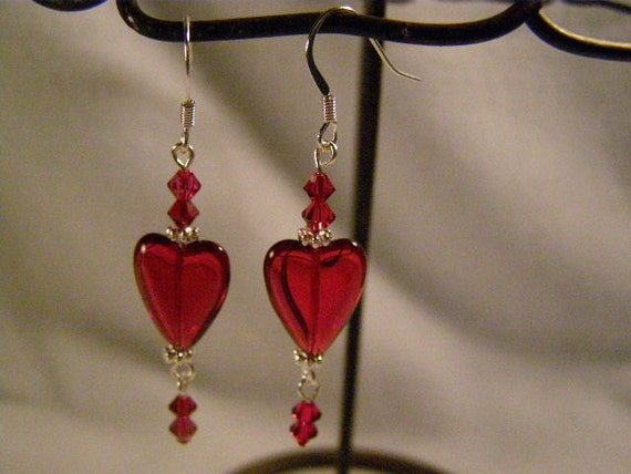Red Hearts and Swarovski Crystal Earrings