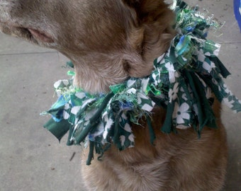 clearance Whimsical handmade green St PATRICKS Day Dog Collar Fabric recycled parade irish L-XL DOGS bells