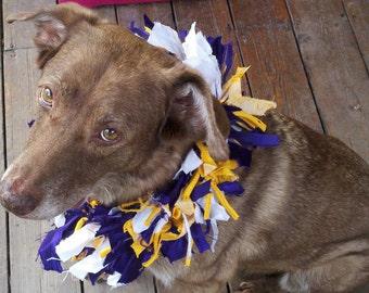 clearance Whimsical handmade XL MINNESOTA VIKINGS purple, gold, white bells fabric decorative football dog collar