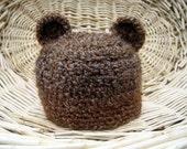 Bear Beanie- Bear Hat- Baby Hat- Photo Prop-  Brown