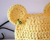 Bear Hat - Bear Beanie- Baby Hat- Photo Prop- Yellow - Bumble Bee