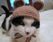 Pet Hat- Bear Beanie- Cat Hat- Photo Prop- Taupe