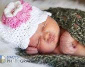 Crochet Baby Hat, Baby Girl Hat, Newborn Hat, Infant Hat, Baby Sun Hat, Baby Flower Hat, Baby Hospital Hat, Coming Home Hat, Baby Beanie