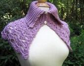 Women's Capelet , Crochet Wrap, Cape, Wedding Party, Lavender  Or You Choose Color