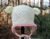 Baby Girl Hat, Crochet Baby Hat, Baby Lamb Hat, Newborn Lamb Hat, Infant Lamb Hat, Baby Animal Hat, Baby Girl Lamb Hat, Ivory, Baby Beanie