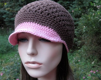 Crochet Hat, Womens Newsboy Hat, Crochet Women's Hat, Newsboy Cap, Crochet Visor Hat, Brown, Pink