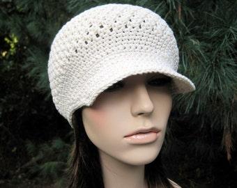 Crochet Newsboy Hat, Crochet Hat, Womens Hat, Newsboy Hat, Crochet Newsboy Cap, Womens Accessories, Teen Hat, Cotton Hat, Visor Hat, Ivory