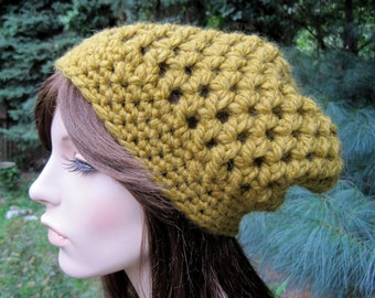 Crochet Hat, Crochet Womens Hat, Crochet Beanie, Crochet Womens Beanie, Womens Slouchy Hat, Chunky Hat, Fall Fashion, Olive Green, Teen Hat