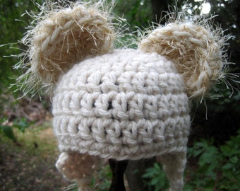 Crochet Baby Hat, Baby Bear Hat, Crochet Bear Hat, Baby Girl Hat, Baby Boy Hat, Newborn Bear Hat, Infant Hat, Baby Animal Hat, Cream
