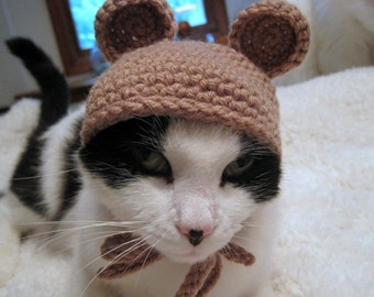 Pet Costume, Pet Hat, Hat for Cats, Cat Clothing, Pet Clothing, Cat Costume, Kitten Hat, Cat Dress Up, Crochet Hat for Cats, Bear Hat