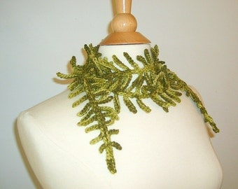 Crochet Womens Scarf Skinny Scarf Woodland Fern Scarf Crochet Lariat Autumn Fashion Green