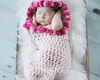 Crochet Cocoon, Hooded Cocoon, Baby Girl Cocoon, Baby Cacoon, Newborn Cocoon, Infant Cocoon, Crochet Baby Pod, Photography Prop, Pink