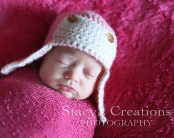 Pink Newborn Girl Hat, Crochet Newborn Hat, Hat for Baby Girl,  Newborn Aviator Hat, Girl Newborn Hat, Newborn Girl Beanie, Girl Coming Home