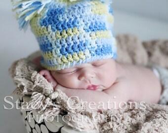 Crochet Baby Hat, Baby Pom Pom Hat, Crochet Baby Beanie, Crochet Newborn Hat, Infant Hat Boy, Baby Boy Hat, Photo Prop, Blue, Yellow